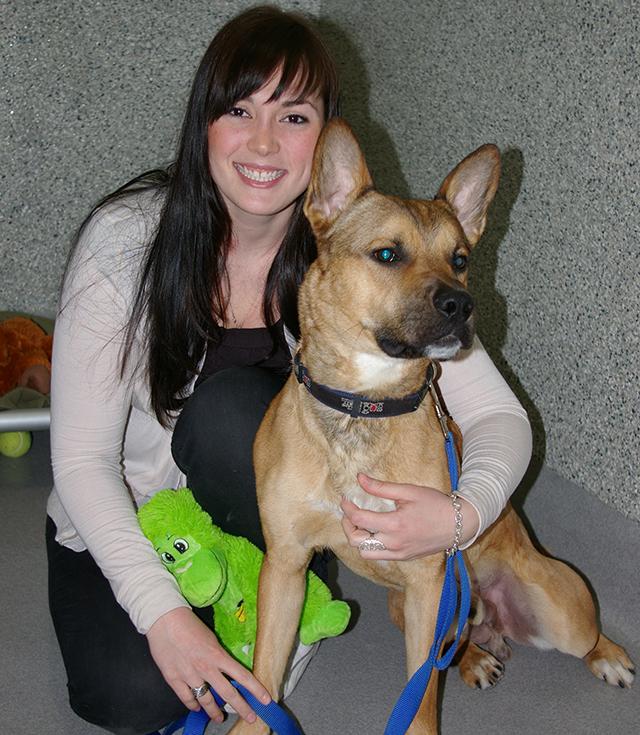 Ashley with a dog